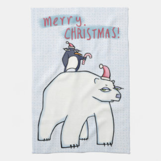 """Polar Bear Christmas white Kitchen Towel 16"""" x 24"""""""