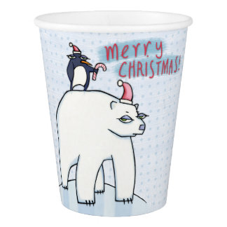 Polar Bear Christmas white Paper Cup