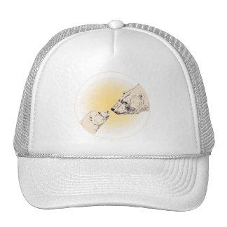 Polar Bear & Cub Caps Wildlife Bear Art Caps Cap
