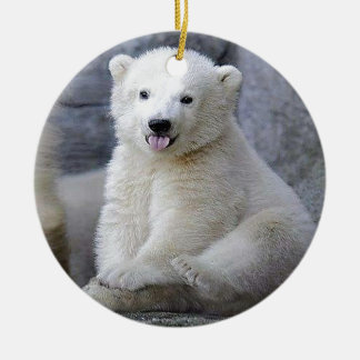 Polar Bear Cub Ceramic Ornament