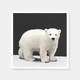 Polar Bear Cub Painting - Original Wildlife Art Paper Napkin