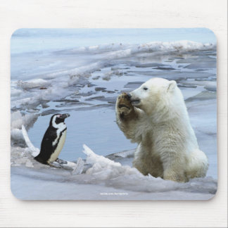 Polar Bear Cub & Penguin Best Friends Mousepad