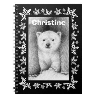 Polar Bear Cub Snowflake Christmas Notebook