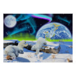 Polar Bear Cubs & Aurora Earth Day Fantasy Poster