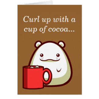 """Polar Bear """"Curl up with a cup of cocoa..."""" Card"""