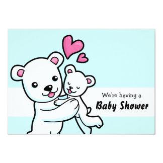 "Polar Bear customisable Baby Shower Invitation 5"" X 7"" Invitation Card"