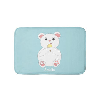 Polar Bear Eating Ice Cream Customizable Bath Mat