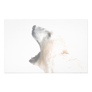 Polar bear growl customized stationery