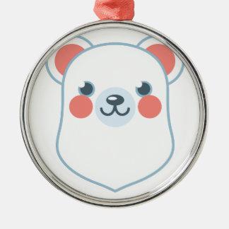 Polar Bear Head Silver-Colored Round Decoration