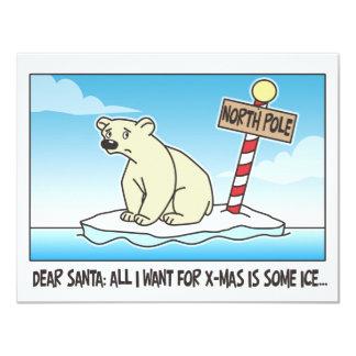 Polar Bear Ice Christmas Custom Invites