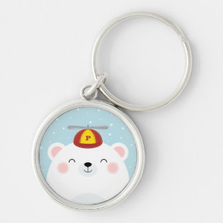 Polar Bear in a Propeller Hat Illustration Silver-Colored Round Key Ring
