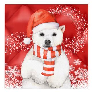 polar bear in a santa cap - snowflakes w white acrylic print