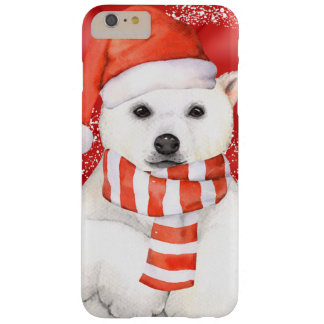 polar bear in a santa cap - snowflakes w white barely there iPhone 6 plus case