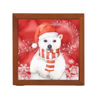 polar bear in a santa cap - snowflakes w white desk organiser