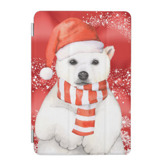 polar bear in a santa cap - snowflakes w white iPad mini cover