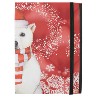 "polar bear in a santa cap - snowflakes w white iPad pro 12.9"" case"