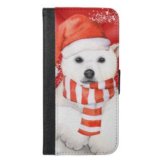 polar bear in a santa cap - snowflakes w white iPhone 6/6s plus wallet case