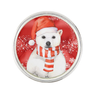 polar bear in a santa cap - snowflakes w white lapel pin
