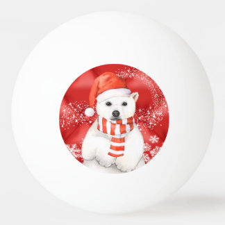 polar bear in a santa cap - snowflakes w white ping pong ball