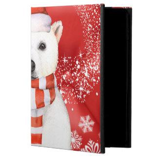 polar bear in a santa cap - snowflakes w white powis iPad air 2 case