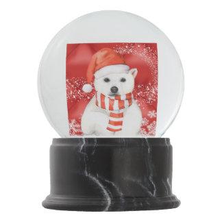polar bear in a santa cap - snowflakes w white snow globe