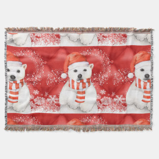 polar bear in a santa cap - snowflakes w white throw blanket