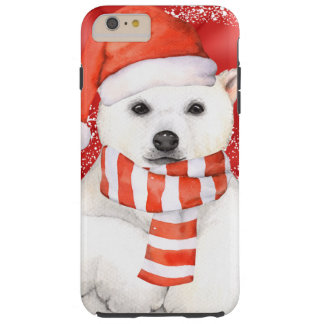 polar bear in a santa cap - snowflakes w white tough iPhone 6 plus case