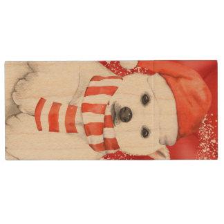 polar bear in a santa cap - snowflakes w white wood USB flash drive