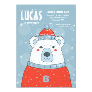 Polar Bear in Red Sweater Invitation