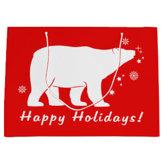 Polar Bear in the Snow Happy Holidays Large Gift Bag