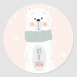 Polar bear - Let it snow - Cute Christmas Sticker
