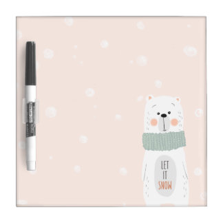 Polar bear - Let it snow - Cute Winter / Christmas Dry Erase Board