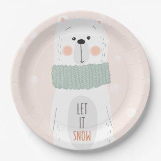 Polar bear - Let it snow - Cute Winter / Christmas Paper Plate