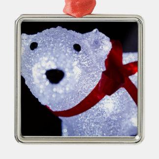 POLAR BEAR LIGHTS SQUARE METAL CHRISTMAS ORNAMENT