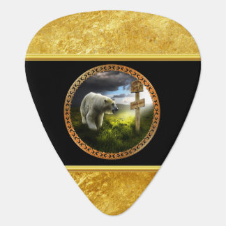 polar bear looking at the north pole wooden sign guitar pick