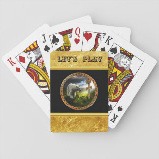 polar bear looking at the north pole wooden sign playing cards