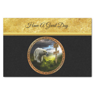 polar bear looking at the north pole wooden sign tissue paper