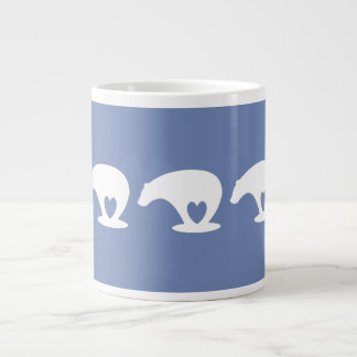 Polar Bear Love, on wedgewood blue Large Coffee Mug
