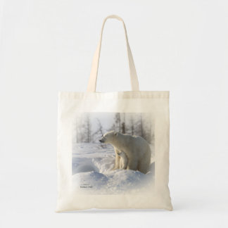 Polar bear mother and cub tote bags