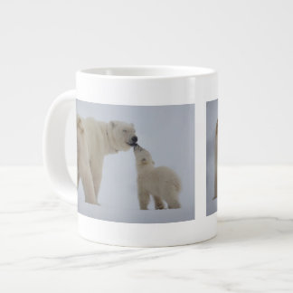 Polar Bear mother with cub Large Coffee Mug