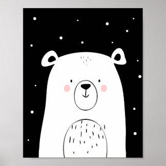 Polar bear Nursery Wall Art Print Monochrome