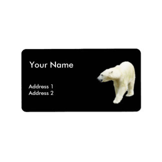Polar Bear on a Black Background Label