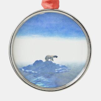 Polar Bear On Iceberg Silver-Colored Round Decoration