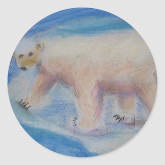 Polar bear on shrinking ice classic round sticker