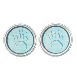 Polar Bear Paw Print Cufflinks