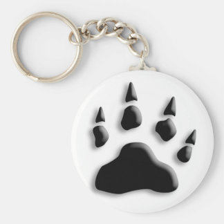 Polar Bear Paw Print Key Ring