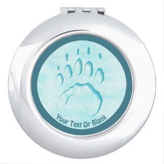 Polar Bear Paw Print Travel Mirror