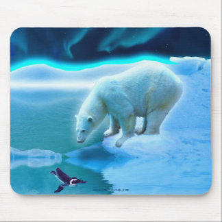 Polar Bear & Penguin Arctic Wildlife Art Mousepad