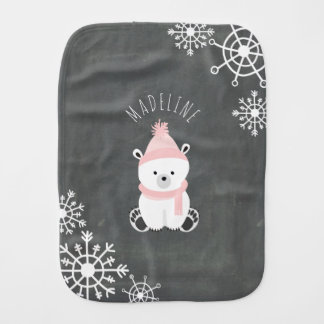 Polar Bear Personalized Baby Burp Cloth - Pink