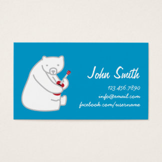 Polar Bear Playing Uke Music Profile Card